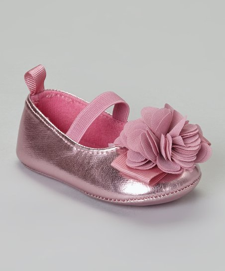 Light Pink Metallic Flower Flat
