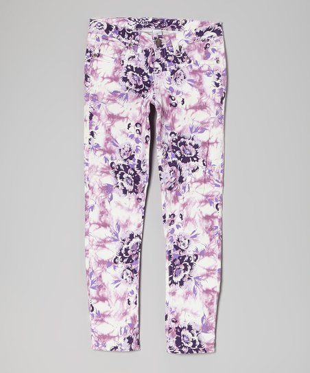 Purple Tie-Dye Floral Skinny Jeans - Girls