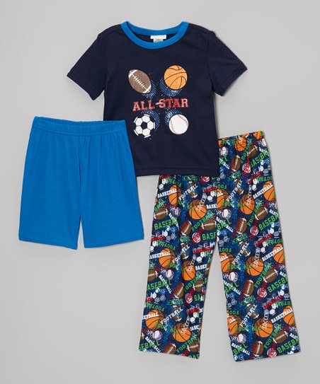 Navy 'All Star' Pajama Set - Toddler & Boys