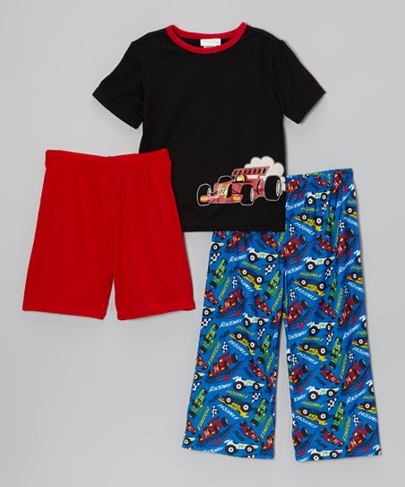 Black & Blue Racecar Pajama Set - Toddler & Boys