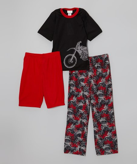 Black & Red Motorcycle Pajama Set - Boys