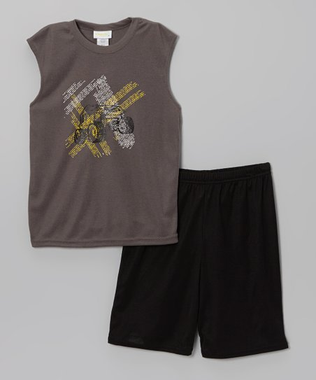 Gray & Black Off-Road Pajama Set - Boys