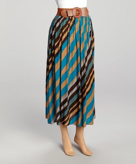 Blue & Orange Stripe Maxi Skirt - Women