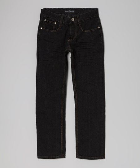 Black Button Pocket Straight-Leg Jeans - Boys