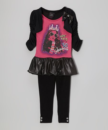 Pink & Black Queen Skirted Tunic & Leggings - Girls & Girls' Plus