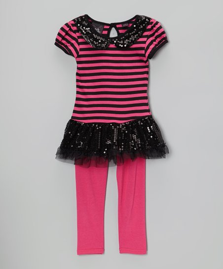 Pink & Black Stripe Sequin Tunic & Leggings - Girls