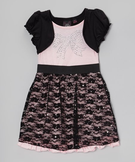Pink & Black Rhinestone Layered Dress - Girls
