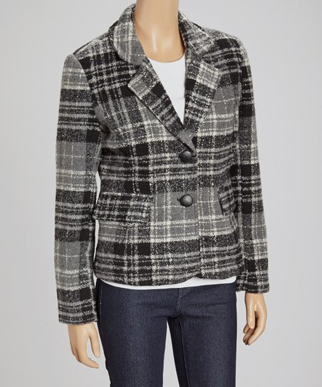 Gray Plaid Wool-Blend Jacket - Women
