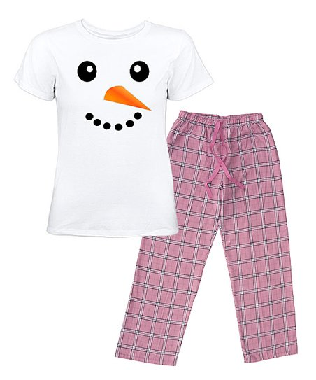 White & Pink Snowman Face Pajama Set - Women