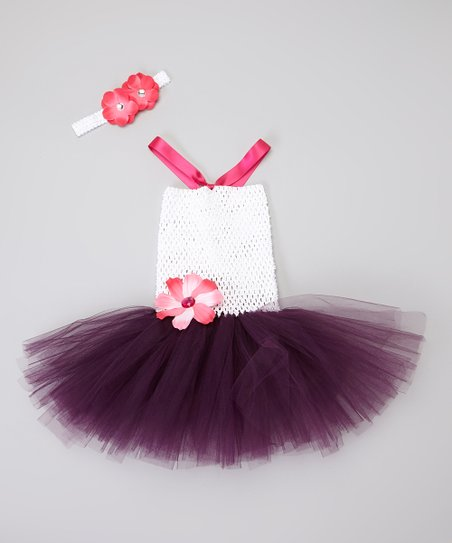 Purple & White Fairy Tutu Dress & Headband – Toddler