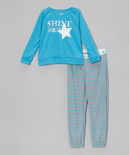 Starlight Blue 'Shine Bright' Pajama Set - Girls
