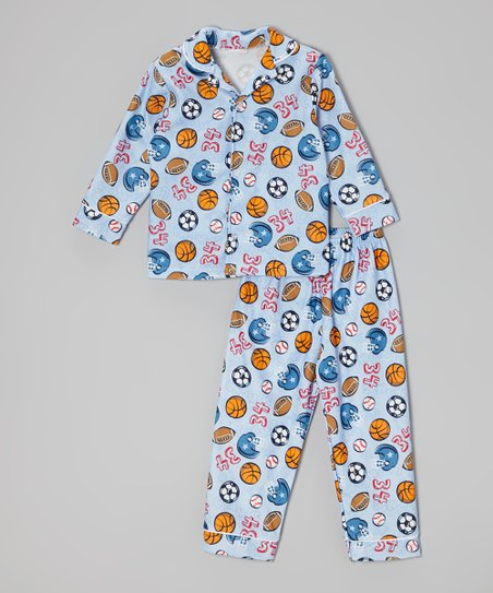 Light Blue Sports Button-Up Pajama Set - Infant & Toddler