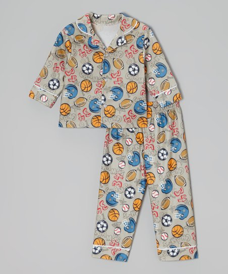 Gray Sports Button-Up Pajama Set - Infant & Toddler