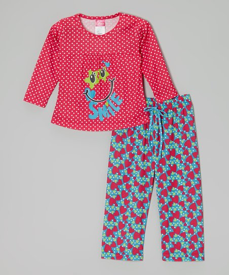Fuchsia Polka Dot 'Smile' Pajama Set - Toddler & Girls