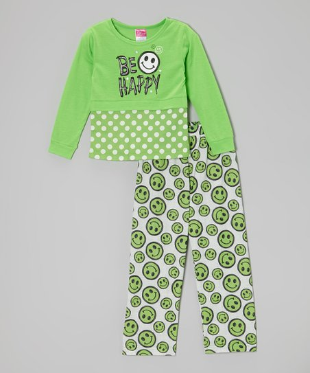 Lime 'Be Happy' Pajama Set - Girls