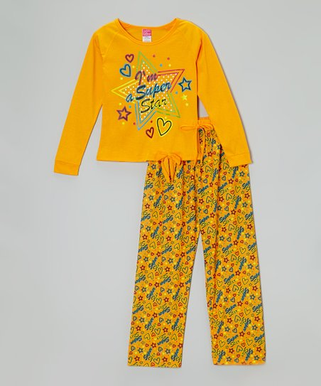 Orange 'Super Star' Pajama Set - Toddler & Girls