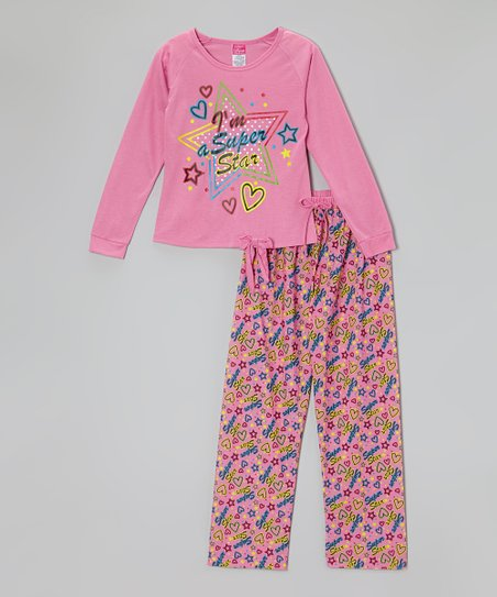 Pink 'Super Star' Pajama Set - Toddler & Girls