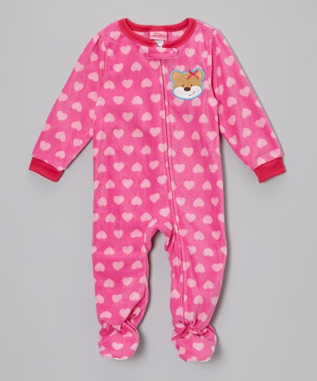 Pink Bear Heart Fleece Footie - Infant, Toddler & Kids