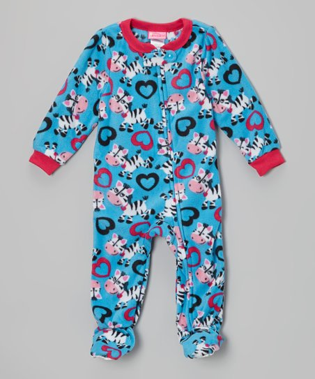 Blue Zebra Heart Fleece Footie - Infant, Toddler & Kids