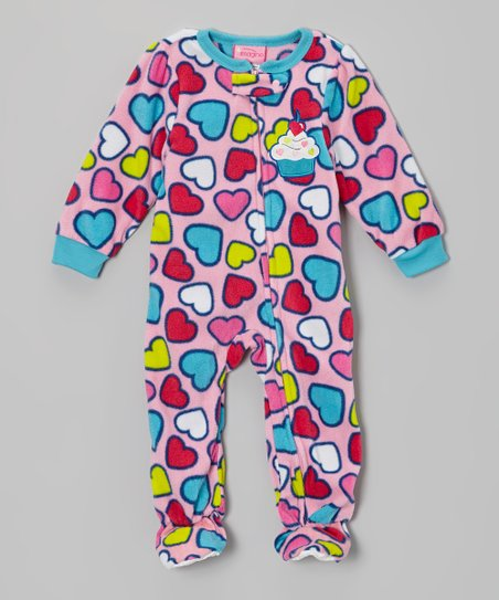 Pink Cupcake Heart Fleece Footie - Infant & Toddler