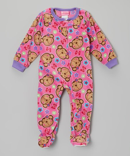 Pink Monkey Fleece Footie - Toddler & Kids