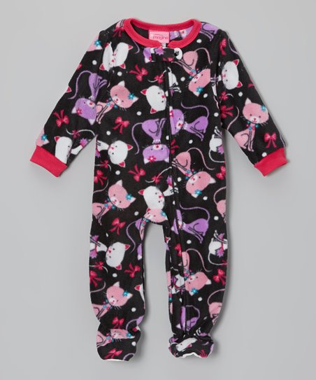 Black Kitty Fleece Footie - Infant & Toddler