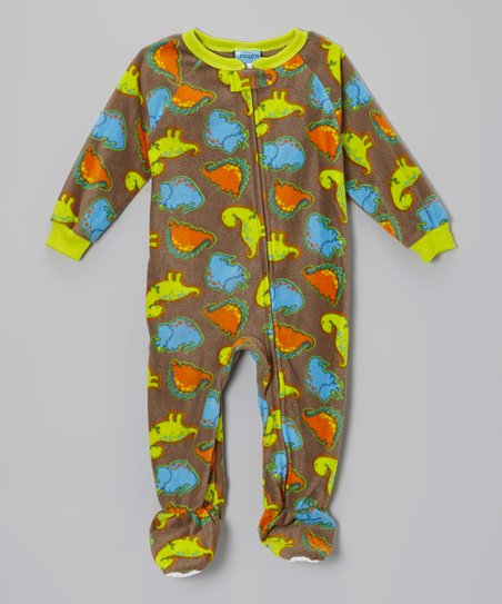 Lime Dino-Rama Fleece Footie - Infant, Toddler & Kids