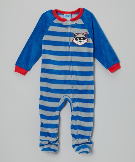 Blue & Gray Raccoon Stripe Fleece Footie - Infant & Toddler