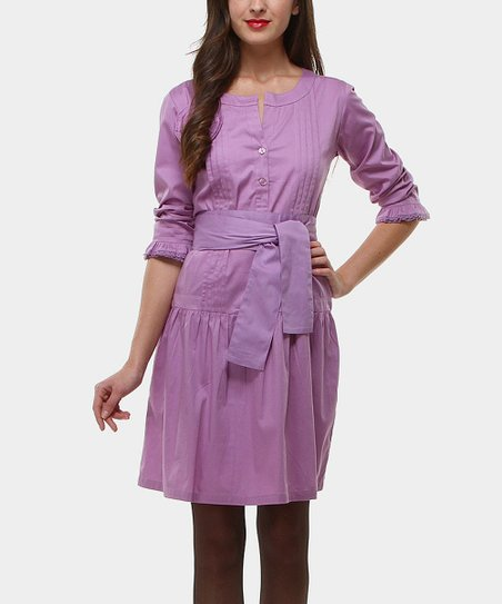 Lilac Pleated Drop-Waist Dress