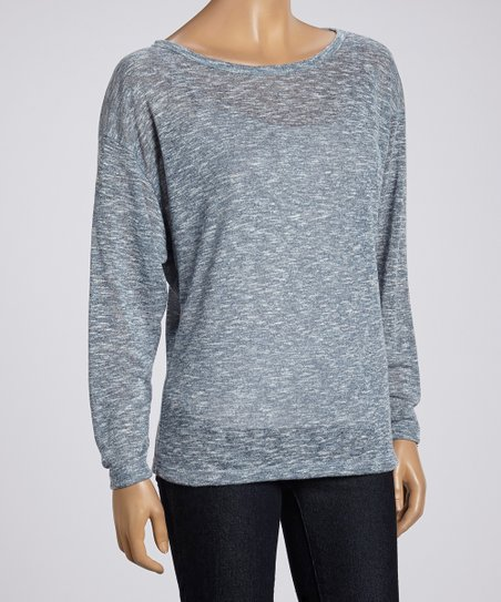 Heather Gray Knit Scoop Neck Top - Women
