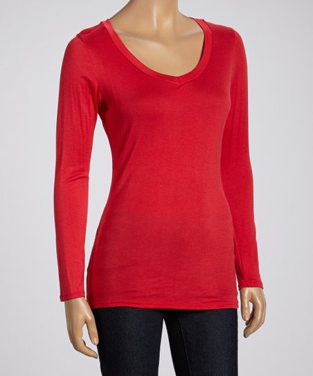 Red Basic V-Neck Tee - Women