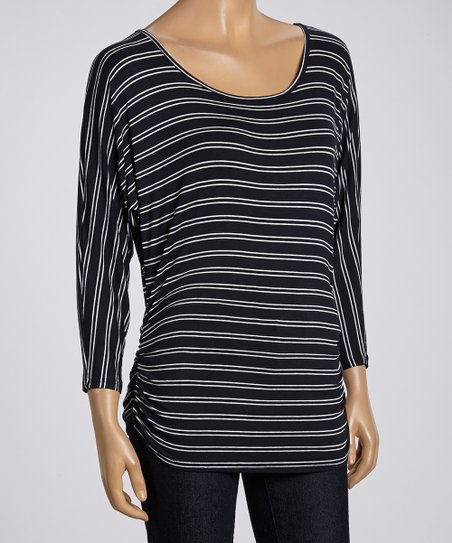 Navy & White Stripe Ruched Dolman Top