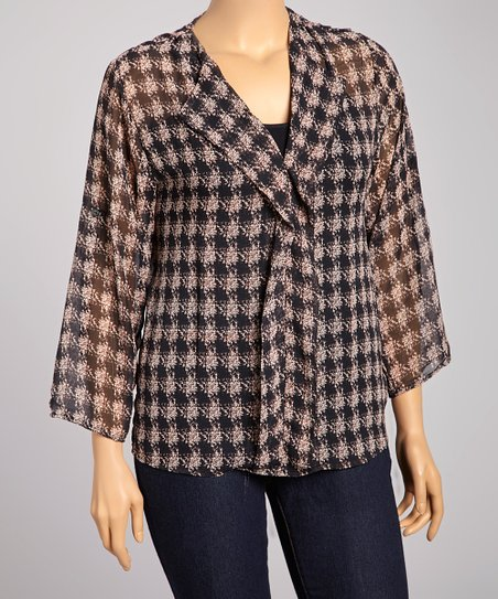 Black Houndstooth Ruffle Top - Plus
