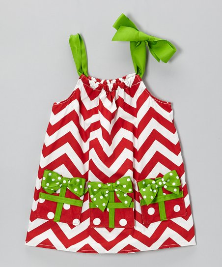 Red & Green Zigzag Pocket Dress - Infant & Toddler