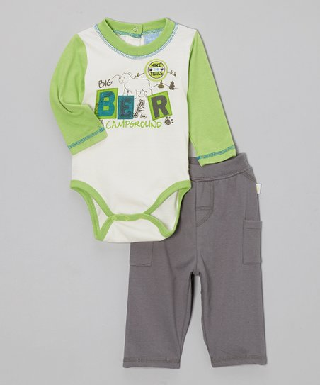 Green 'Bear' Bodysuit & Pants - Infant