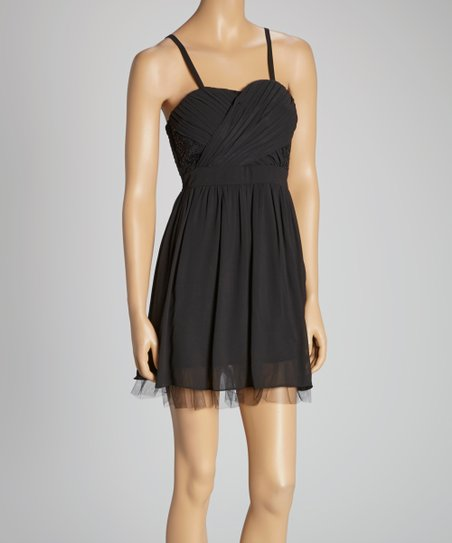 Black Sequin Chiffon Sleeveless Dress