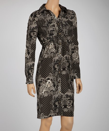 Black Jungle Shirt Dress