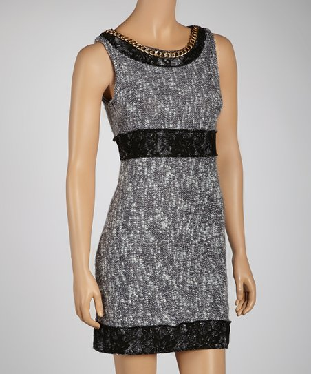 Black Chain & Lace Embellished Dress