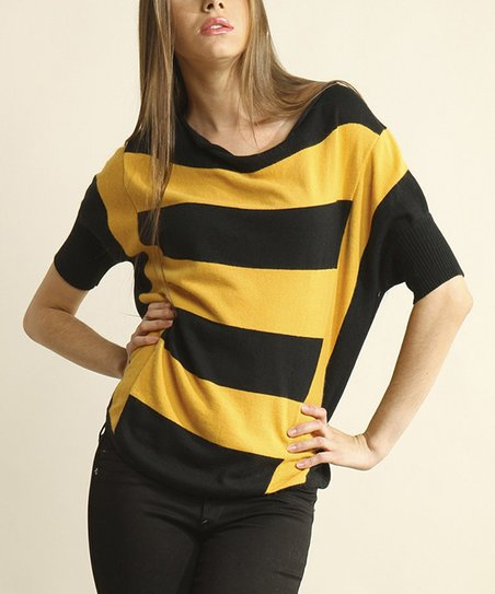 Yellow & Black Stripe Top