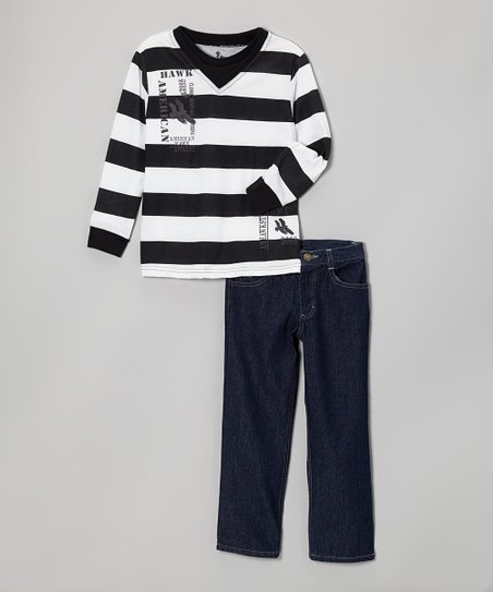 White & Black Stripe V-Neck Tee & Jeans - Infant, Toddler & Boys