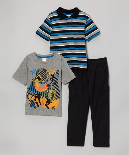 Medium Heather Gray & Blue Stripe Polo Set - Toddler & Boys
