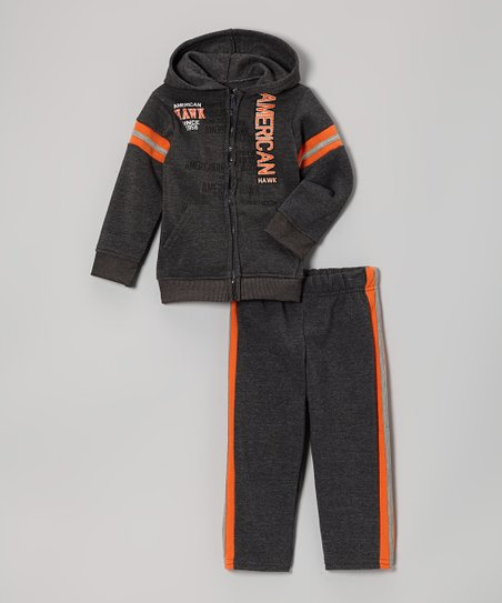 Charcoal & Orange Zip-Up Hoodie & Track Pants - Infant & Toddler