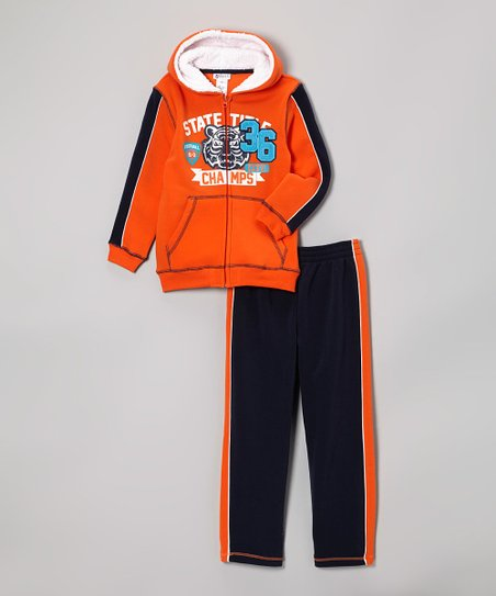 Orange Zip-Up Hoodie & Navy Tack Pants - Infant, Toddler & Boys