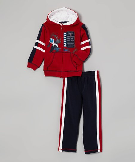 Red 'Gridiron' Zip-Up Hoodie & Navy Pants - Infant & Toddler