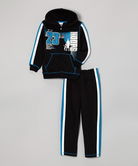Black 'Hoops' Zip-Up Hoodie & Pants - Infant, Toddler & Boys