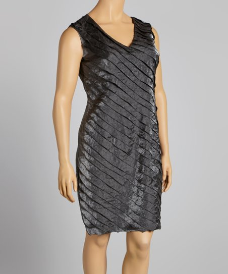 Charcoal Shimmer Shutter Sheath Dress - Plus
