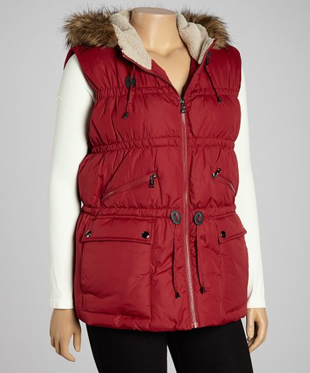 Autumn Red Faux Fur-Trim Puffer Vest - Plus