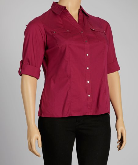 Wine Berry Pocketed Button-Up - Plus