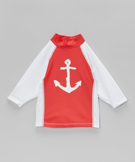 Red & White Anchor Riptide Rashguard - Toddler & Boys