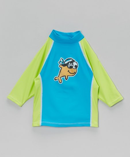 Lime & Aqua Patchy Pete Rashguard - Infant, Toddler & Boys